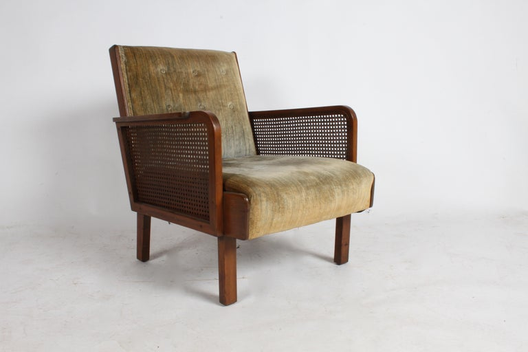 Vienna Secession Club Chair with Caned Panels In Good Condition For Sale In St. Louis, MO
