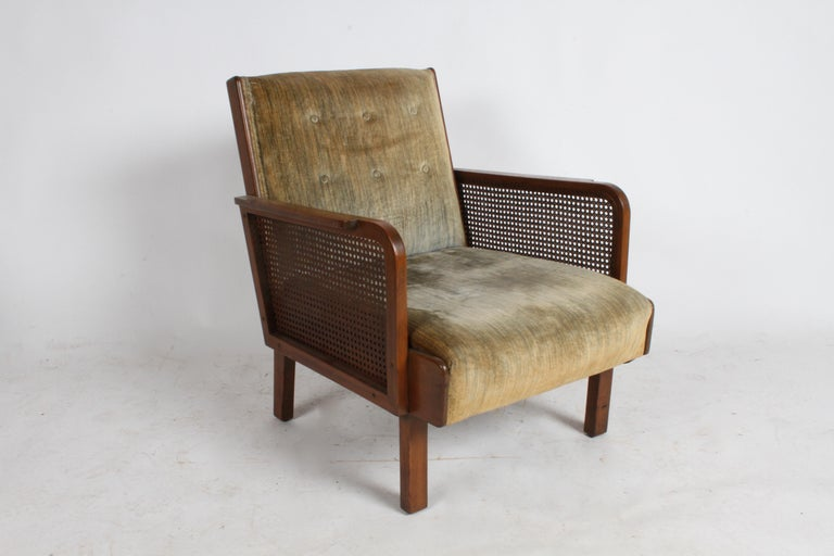 Early 20th Century Vienna Secession Club Chair with Caned Panels For Sale