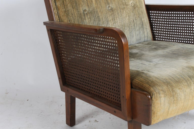 Vienna Secession Club Chair with Caned Panels For Sale 1