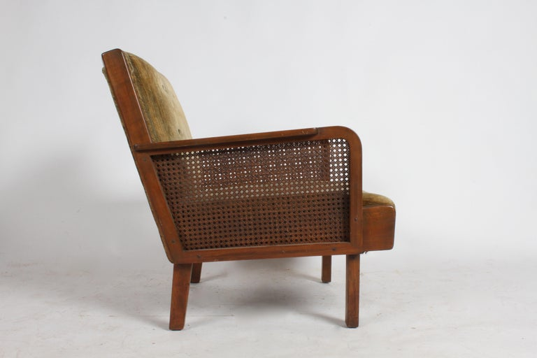 Vienna Secession Club Chair with Caned Panels For Sale 2