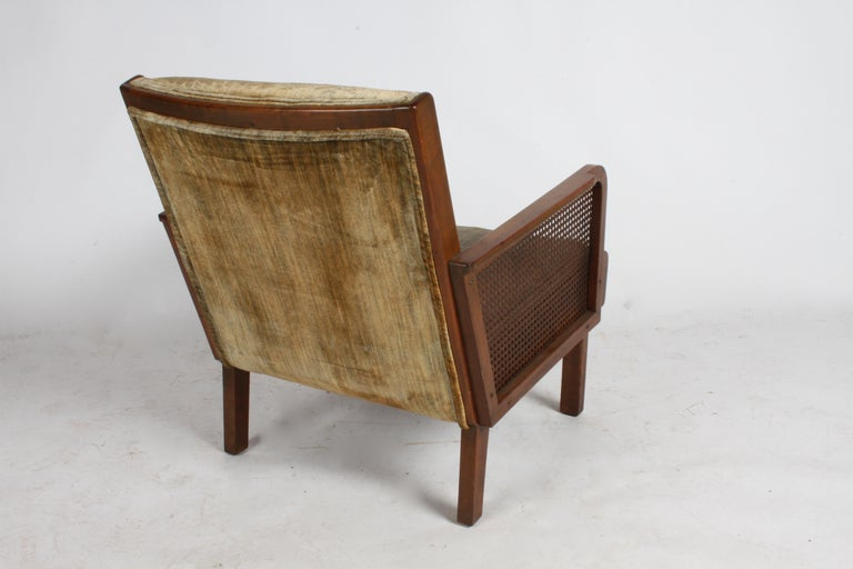 Vienna Secession Club Chair with Caned Panels For Sale 3