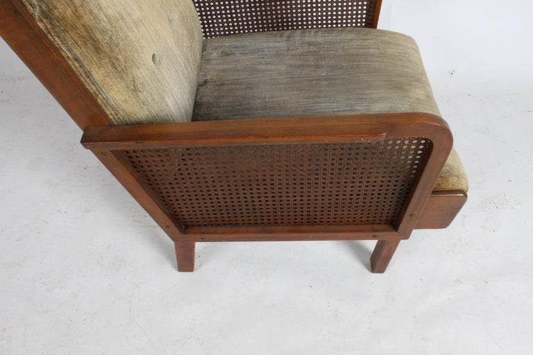 Vienna Secession Club Chair with Caned Panels For Sale 4