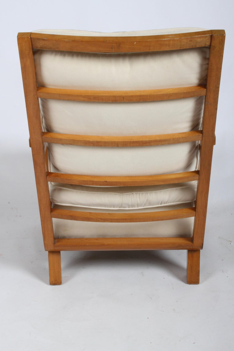 Vienna Secession Lounge or Club chair in Beechwood and Off White Suede For Sale 6