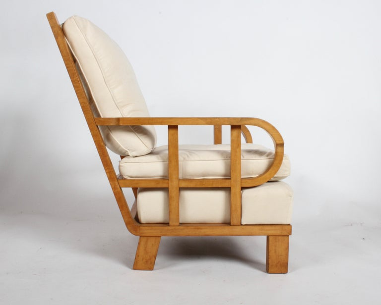 Vienna Secession Lounge or Club chair in Beechwood and Off White Suede For Sale 8