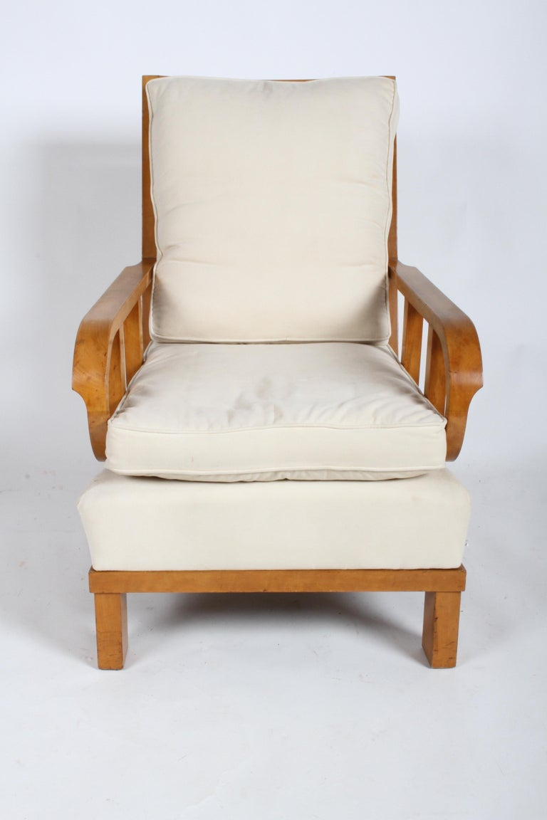 German Vienna Secession Lounge or Club chair in Beechwood and Off White Suede For Sale