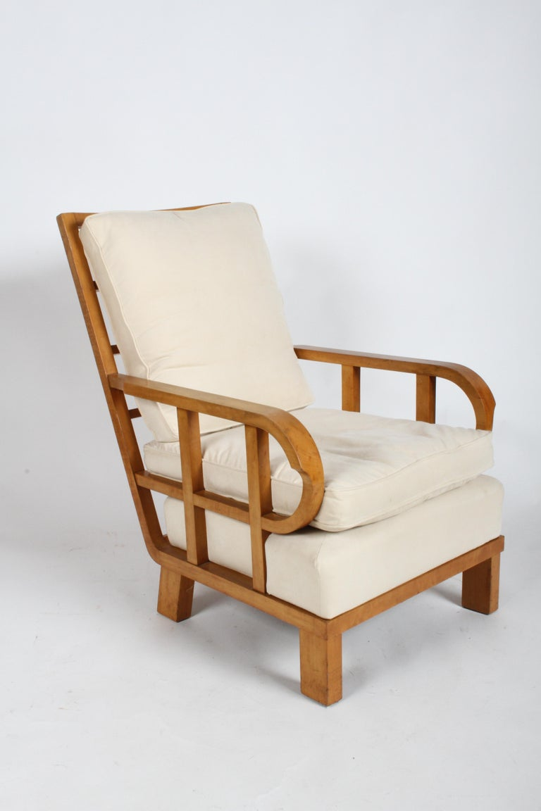 Vienna Secession Lounge or Club chair in Beechwood and Off White Suede In Good Condition For Sale In St. Louis, MO