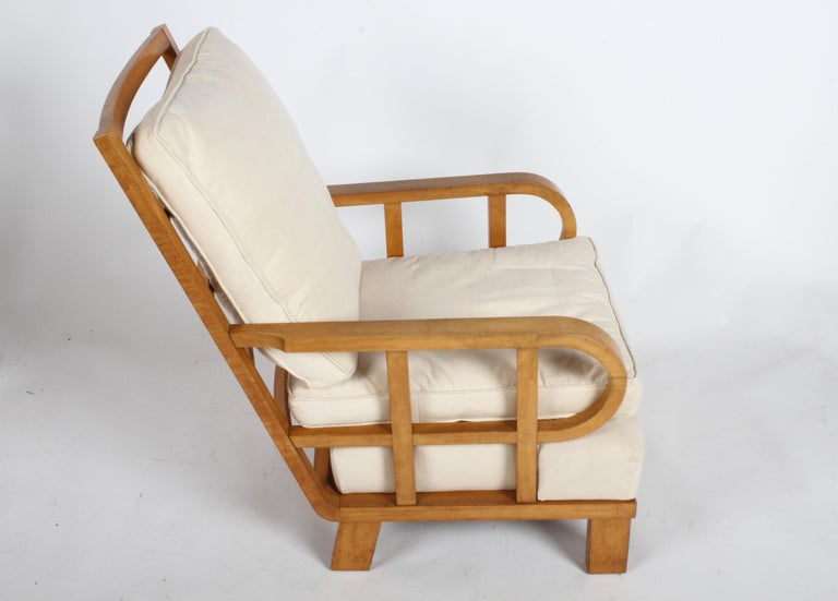 20th Century Vienna Secession Lounge or Club chair in Beechwood and Off White Suede For Sale