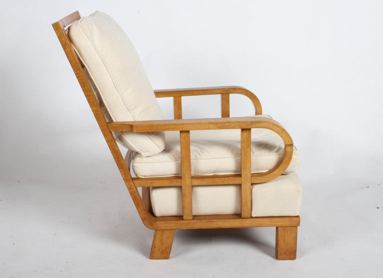 Vienna Secession Lounge or Club chair in Beechwood and Off White Suede For Sale 2