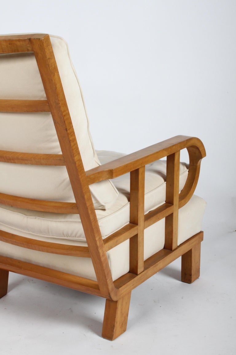 Vienna Secession Lounge or Club chair in Beechwood and Off White Suede For Sale 4