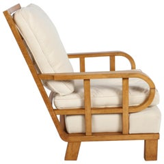 Vienna Secession Lounge or Club chair in Beechwood and Off White Suede