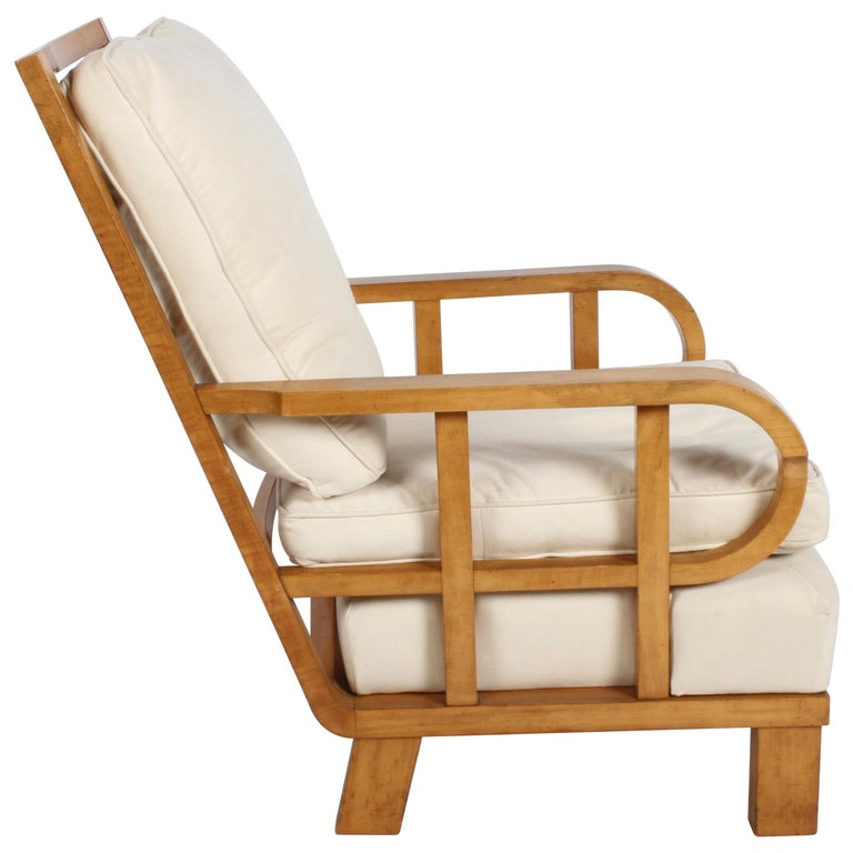 Vienna Secession Lounge or Club chair in Beechwood and Off White Suede For Sale