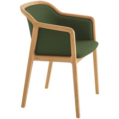 Vienna Soft Armchair in Beech Wood and Wool Fabric Palm Green Made in Italy