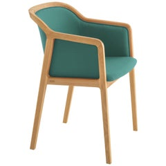 Vienna Soft Armchair in Beechwood and Wool Fabric Tropic Blue Made in Italy
