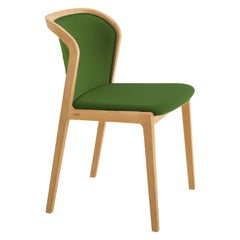 Vienna Soft Chair in Beech Wood and Wool Fabric Palm Green Made in Italy