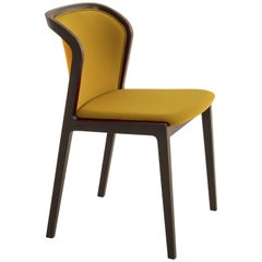 Vienna Soft Chair in Canaletto Walnut and Wool Fabric Ocre Made in Italy