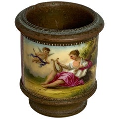 Vienna Style Metal Mounted Hand Painted Porcelain Cachepot Vase
