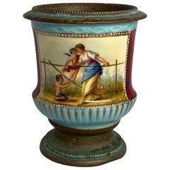 Vienna Style Metal Mounted Porcelain Vase Cachepot