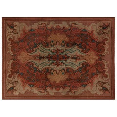 Viennese Art Deco Rug in Bold Shades of Red