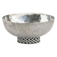 Viennese, Austrian Sterling Silver Crafted Footed Bowl from Mid 20th Century