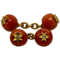 Viennese Belle Epoque Coral Cufflinks in Yellow Gold with Diamonds