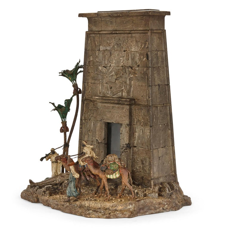 Viennese cold-painted bronze Egyptian monument letterbox by Bergman Austrian, circa 1900 Measures: Height 46cm, width 39cm, depth 28cm  Demonstrating the very best of Bergman, this wonderful cold-painted bronze sculpture depicts an exotic