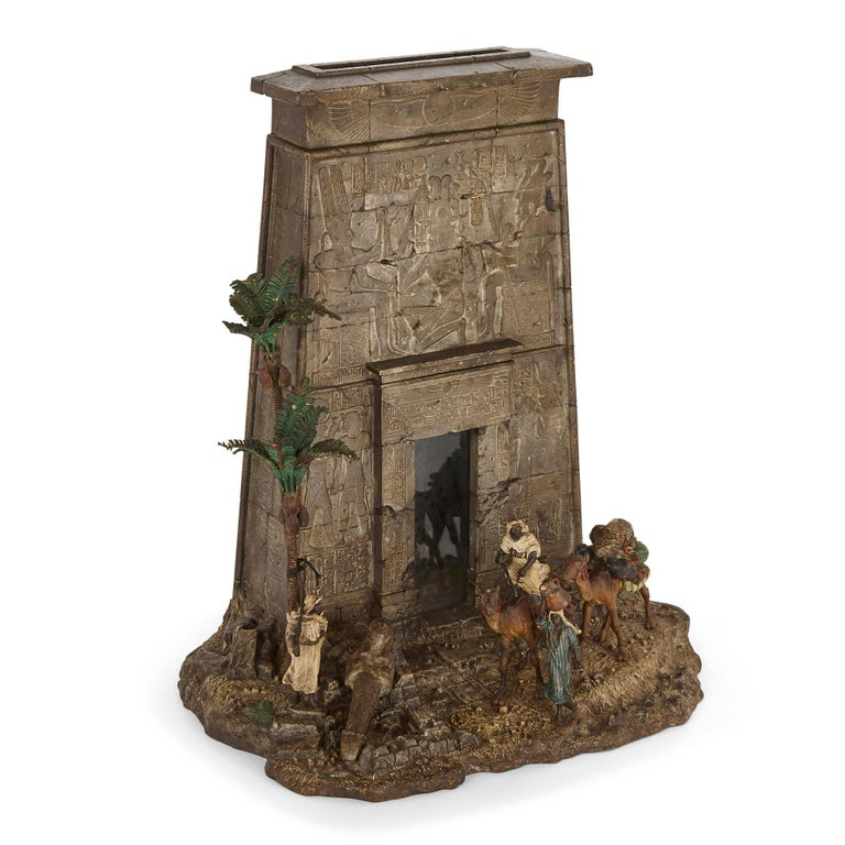 Viennese Cold-Painted Bronze Egyptian Monument Letterbox by Bergman For Sale 1