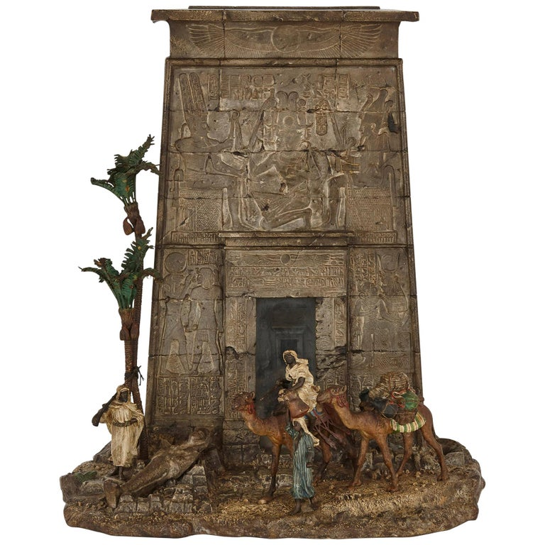 Viennese Cold-Painted Bronze Egyptian Monument Letterbox by Bergman For Sale