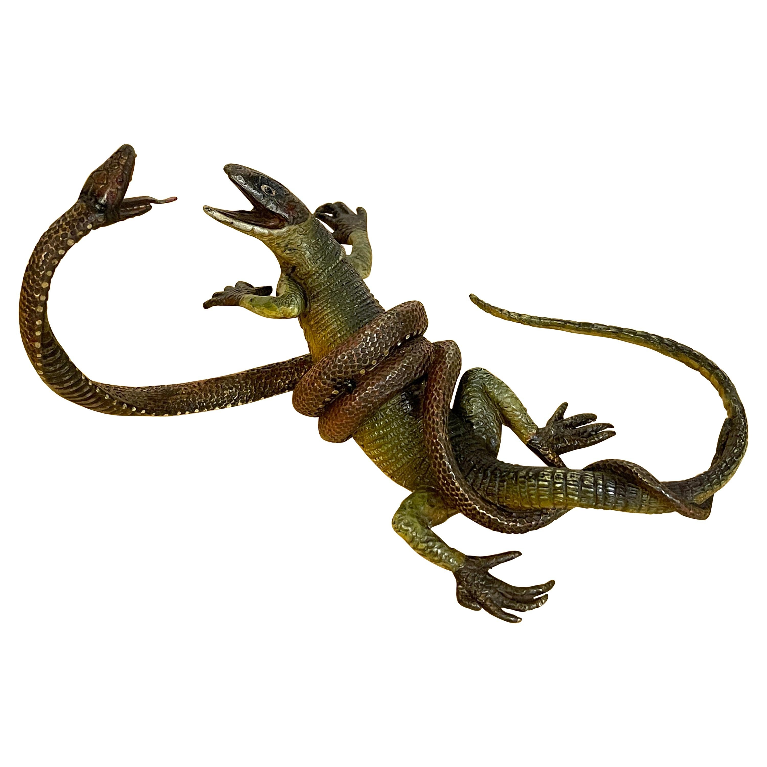 Viennese Cold Painted Bronze Lizard and Snake Sculpture, Signed Gestuz