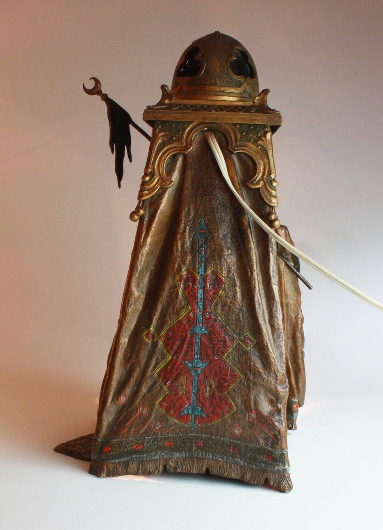 Austrian Viennese Cold Painted Bronze Orientalist Lamp by Bergman, circa 1900 For Sale