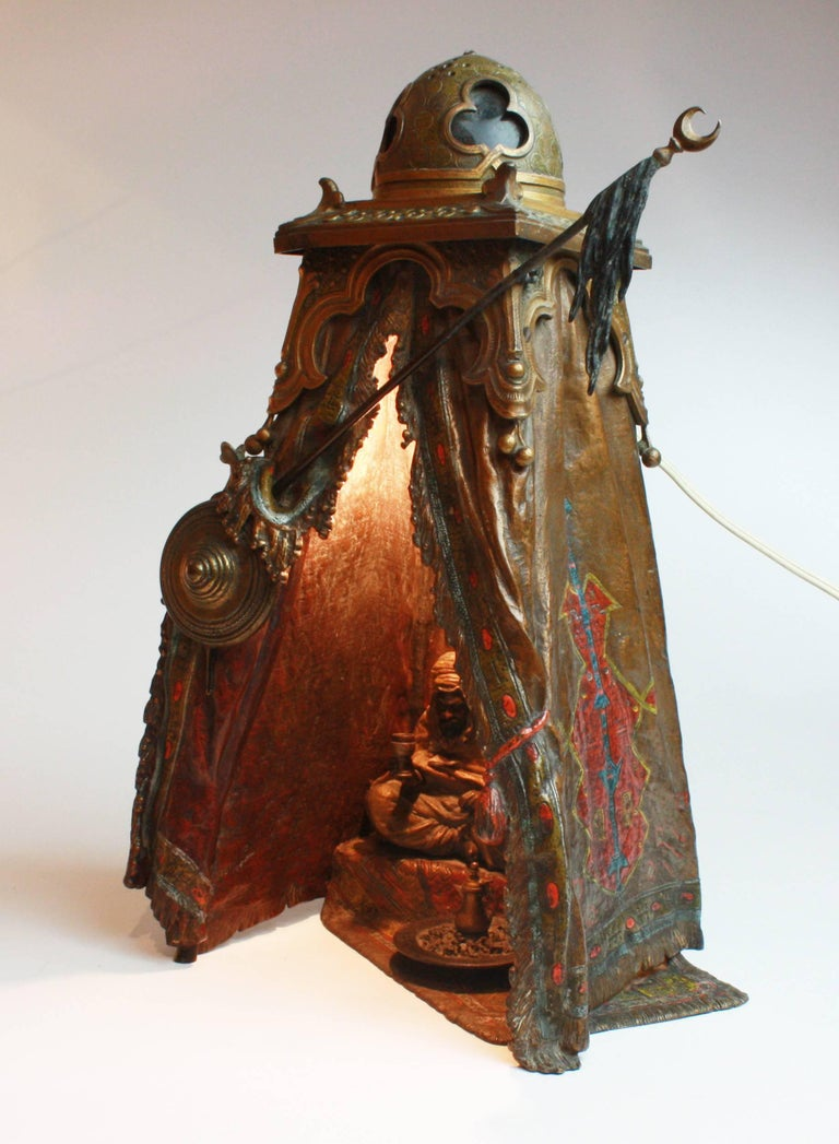 Cold-Painted Viennese Cold Painted Bronze Orientalist Lamp by Bergman, circa 1900 For Sale