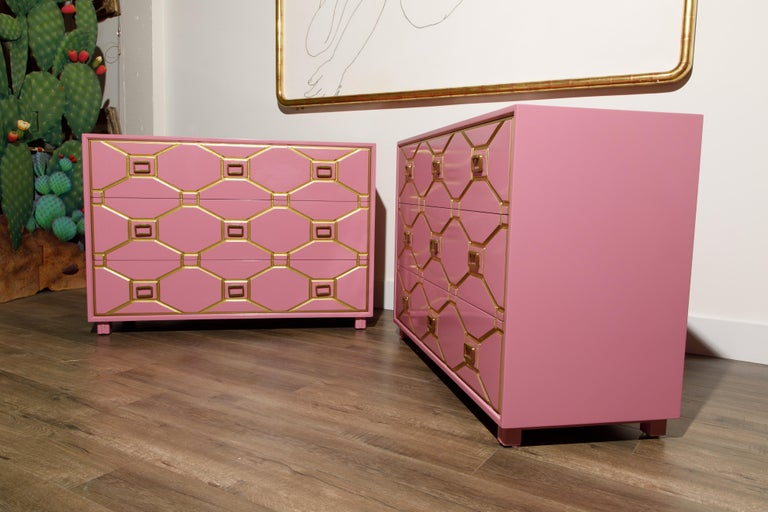 Wood Viennese Collection Dressers by Dorothy Draper for Henredon, circa 1960, Signed For Sale
