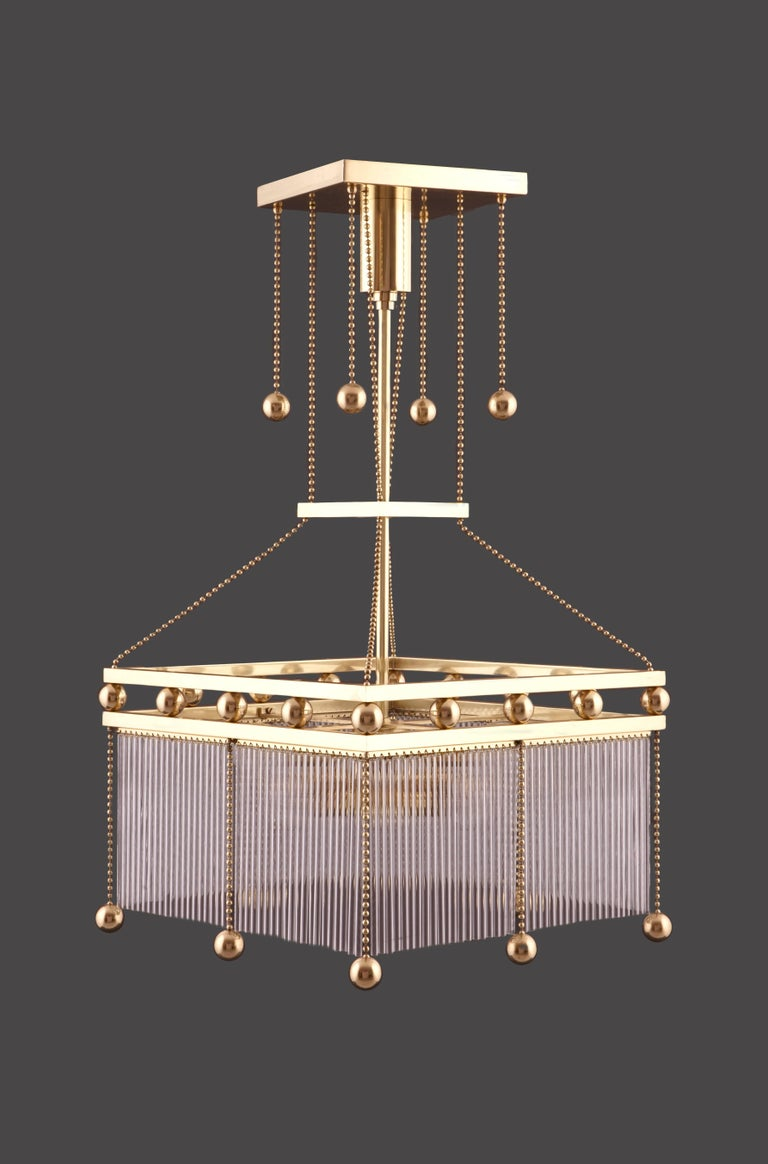 Viennese parlor chandelier. On the bottom we can mount a diffuser on request, to cover the visibility of the bulbs.