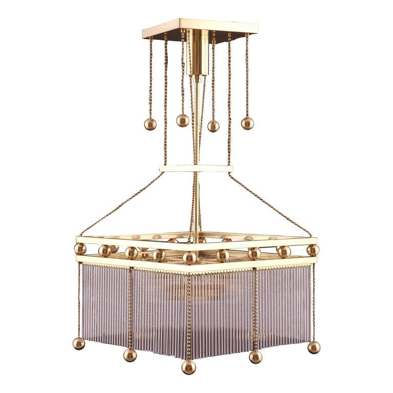 Austro-Hungarian Jugendstil Crystal Glass n Brass Parlor Chandelier Re-Edition  For Sale