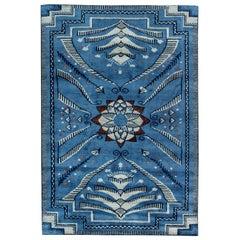 Viennese Design Blue Handwoven Wool Rug