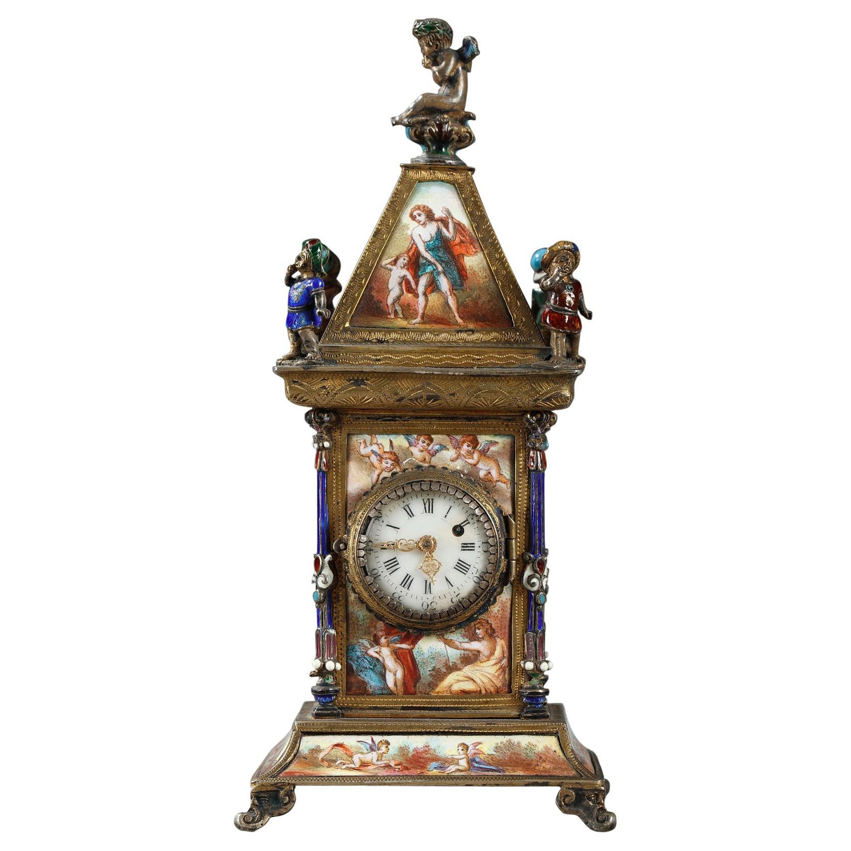 Viennese Enamel and Silver Clock, 19th Century