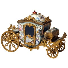 Viennese Enamel Carriage Painted Gilt Bronze Mountings Vienna Made circa 1880