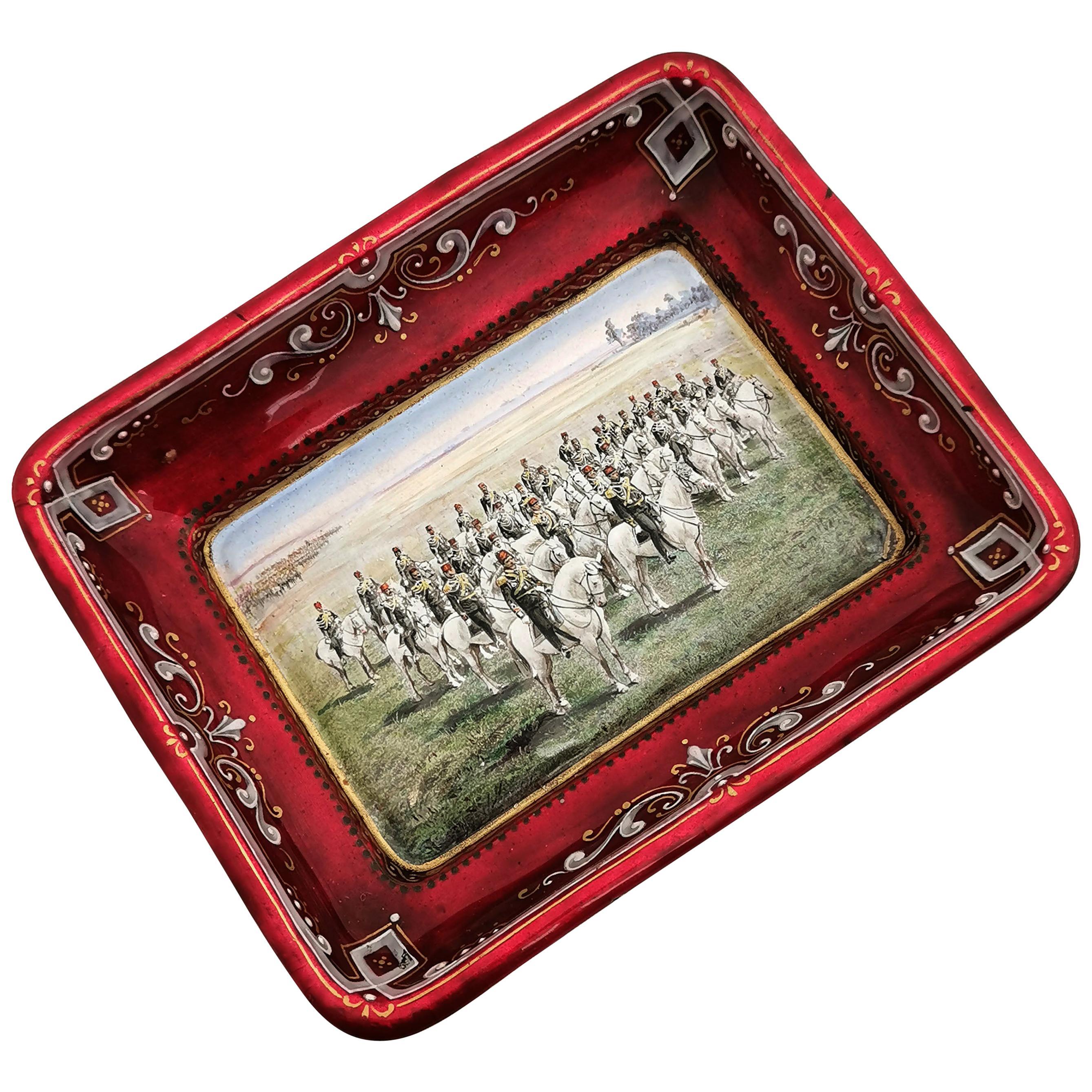 Viennese Enamel Dish / Trinket Pin Tray circa 1880 Turkish Military Parade