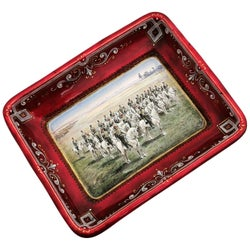 Viennese Enamel Dish / Trinket Pin Tray circa 1880 Turkish Military Parade