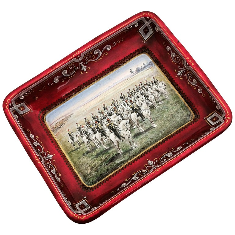 Viennese Enamel Dish / Trinket Pin Tray circa 1880 Turkish Military Parade For Sale
