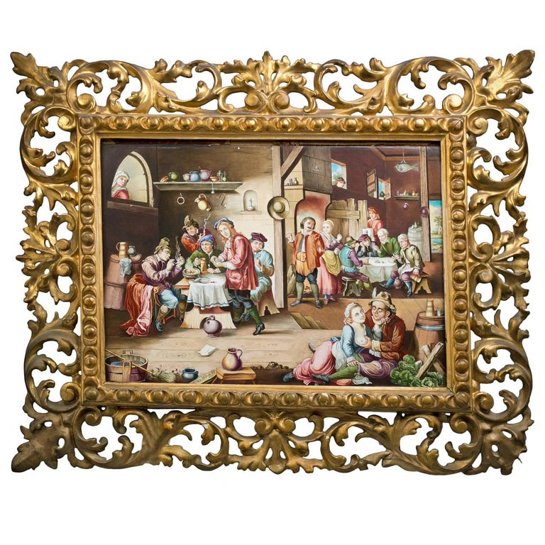 Viennese Enamel Painting of a Tavern Scene, circa 1875 In Good Condition For Sale In New York, NY