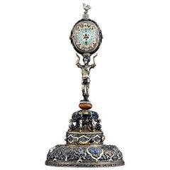Viennese Enamel Soldier Clock