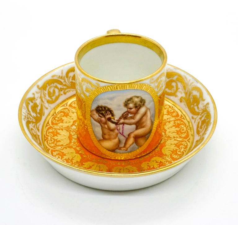 Other Viennese Imperial Porcelain Collecting Cup Yellow and Gold with Cupids, 1825 For Sale
