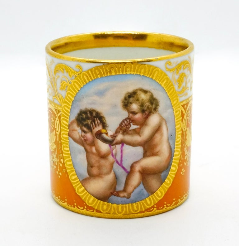 Austrian Viennese Imperial Porcelain Collecting Cup Yellow and Gold with Cupids, 1825 For Sale