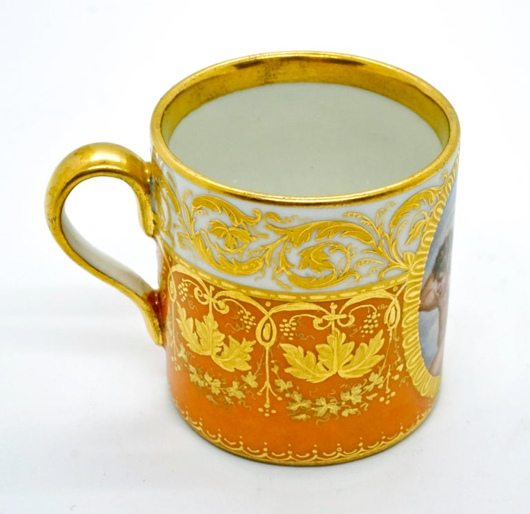 Hand-Crafted Viennese Imperial Porcelain Collecting Cup Yellow and Gold with Cupids, 1825 For Sale
