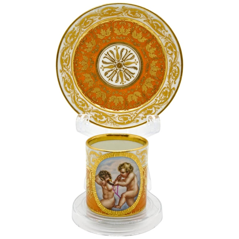 Viennese Imperial Porcelain Collecting Cup Yellow and Gold with Cupids, 1825 For Sale