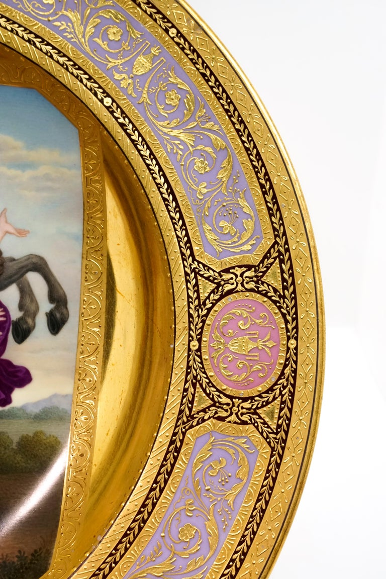 Classical Greek Viennese Imperial Porcelain Splendour Plate 'Abduction Of Phoebe And Elaira'
