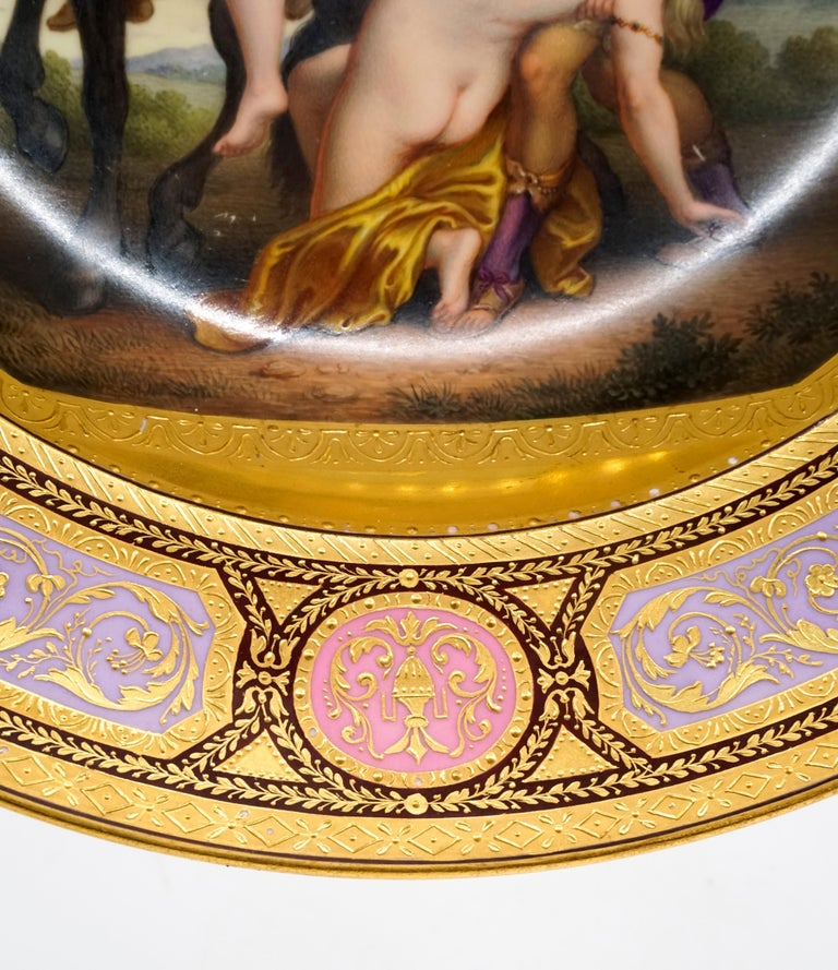 Austrian Viennese Imperial Porcelain Splendour Plate 'Abduction Of Phoebe And Elaira'