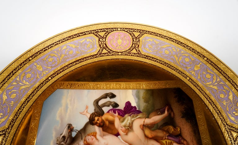 Hand-Crafted Viennese Imperial Porcelain Splendour Plate 'Abduction Of Phoebe And Elaira'