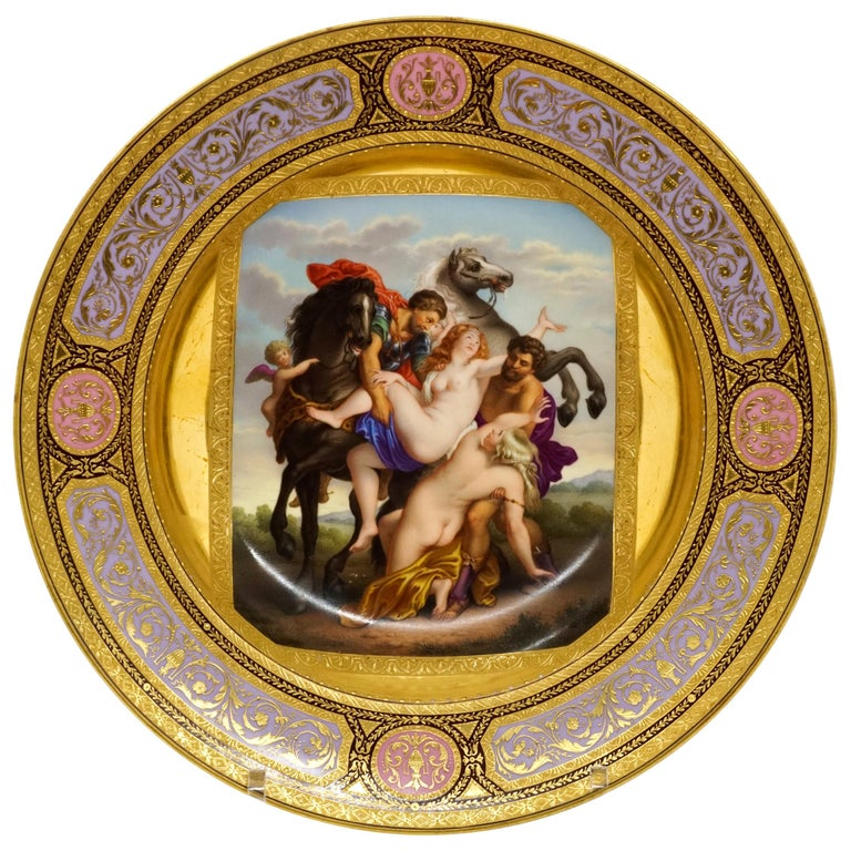 Viennese Imperial Porcelain Splendour Plate 'Abduction Of Phoebe And Elaira'