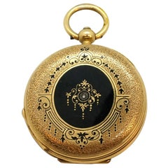 Viennese Ladies 18 Karat Gold Enamel and Diamonds Pocket Watch, circa 1900